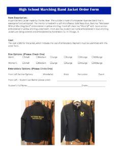 2018 Band Jacket Order Form - Mattawan Bands